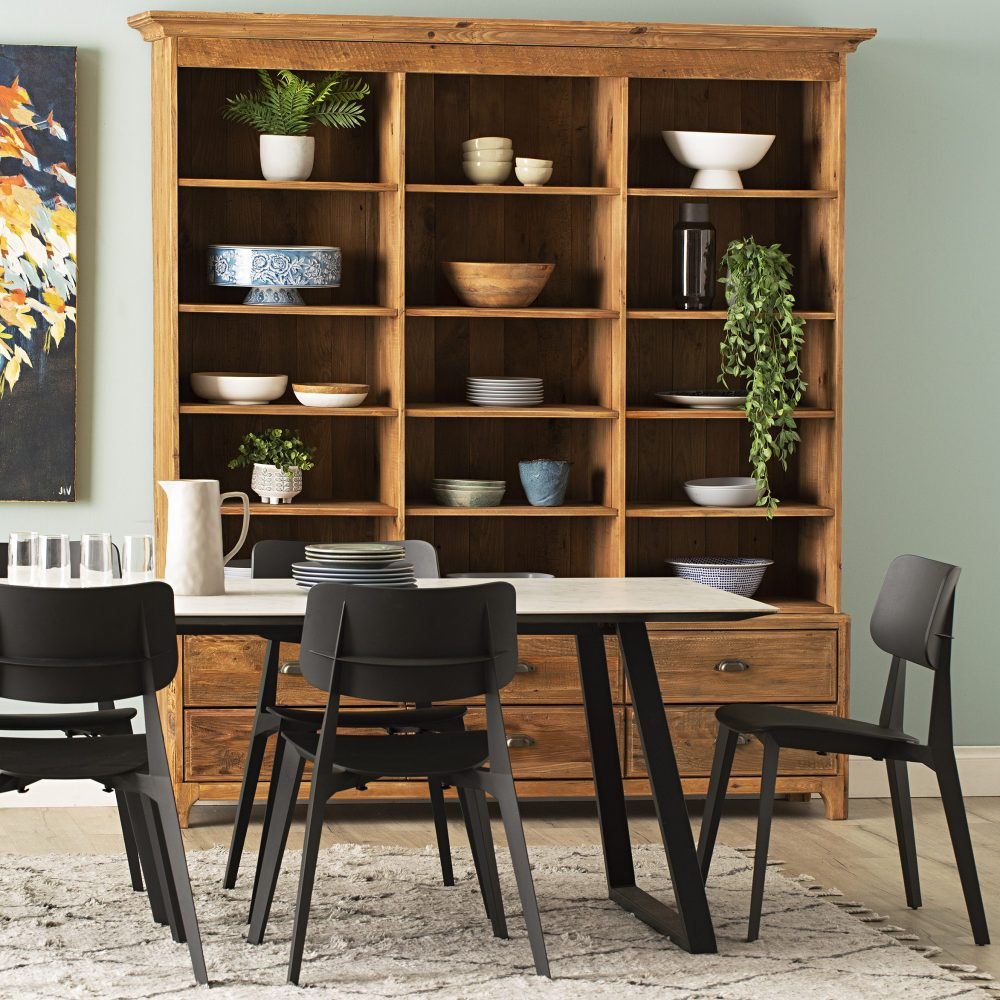 Monochrome Dining Zone with timber