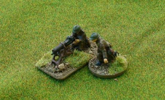 MG08 Machine Gun with 5 crew in seated/kneeling.prone firing