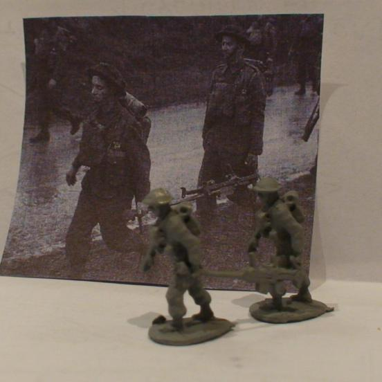 British Infantry 2 man Boyes ATR team running carrying Boyes ATR