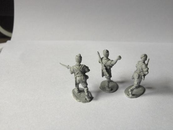 3  x Indian infantryman charging, different figures.