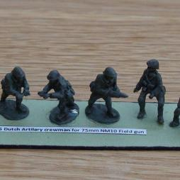 6 Dutch Artillery crewman for 75mm NM10 Field guns
