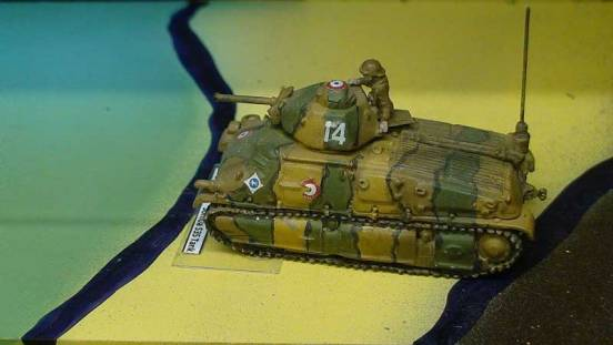 Somua S35 Tank with crewman seated on turret hatch