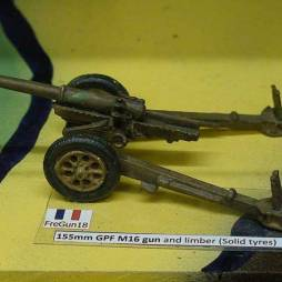 155mm GPF M16 gun and limber (Solid tyres)