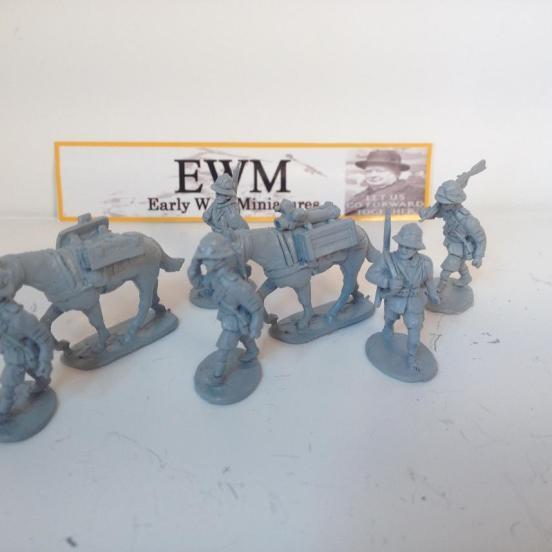 2 Italian Mules loaded with split 81mm Brandt Mortar, ammunition