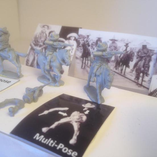 3 x Mexican cavalry multi-pose firing rifles from the saddles.