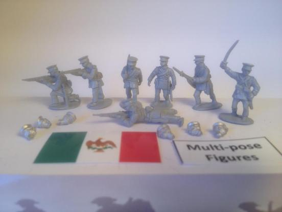 10 Federal Mexican troops in field caps firing & attacking poses
