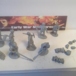 7 multi part French heavy gun crews tools and accessories