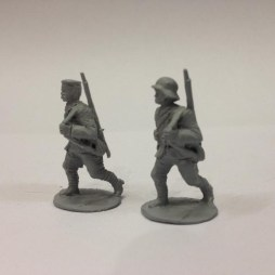 TL. 2 German Stormtroopers marching with rifles slung.