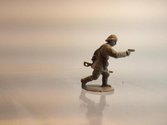 Turkish infantry Officer advancing with pistol drawn