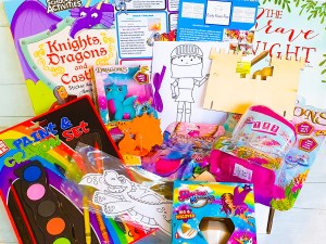 Subscription box, knights, dragons and castles themed, craft, activity, children's activity
