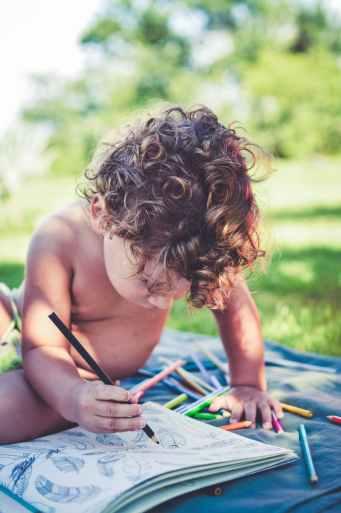 blur book child color pencils