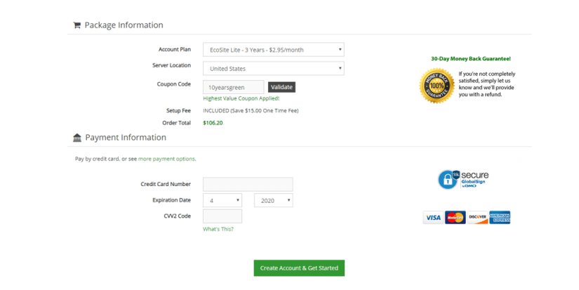 Order and Payments page
