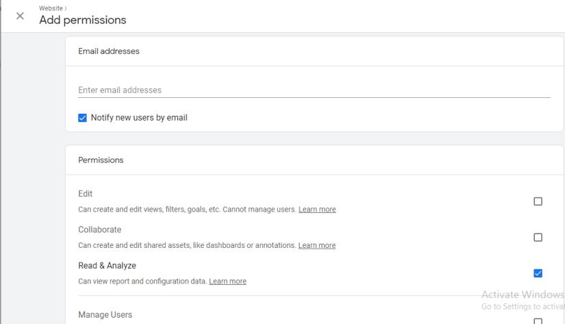 Analytics add user section