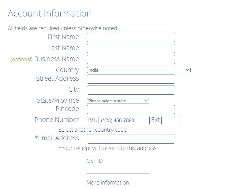 Add Account Information