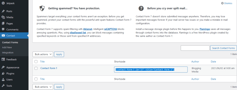 Copy the Contact Form Shortcode