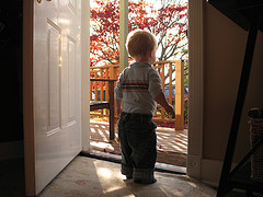 toddler boy standing in open doorway looking outside