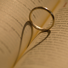ring against book, shadow looks like heart