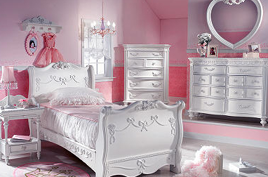 little girl's bedroom decorated in pink and white