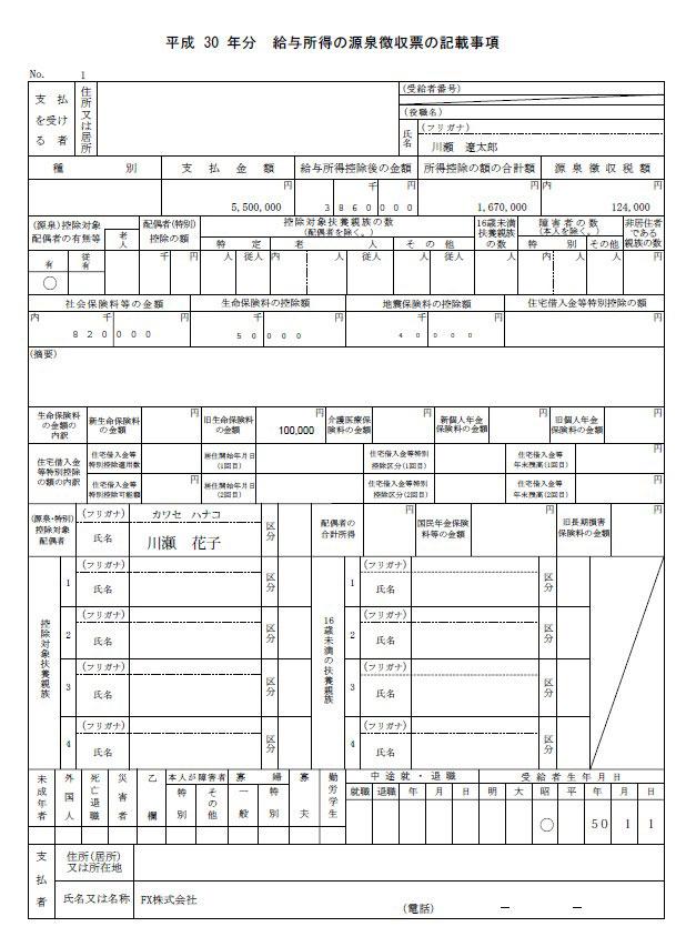 源泉徴収票の記載事項
