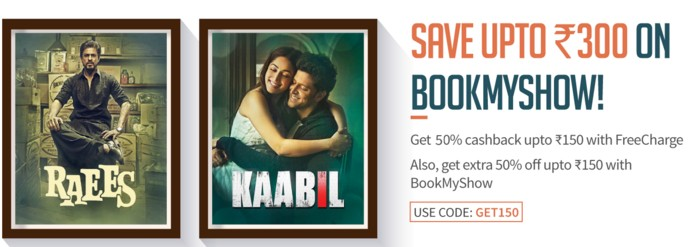 Bookmyshow Get Flat 50% Cashback Though Freecharge Wallet