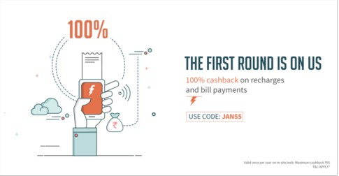 Freecharge JAN55 – Get 100% Cashback On Recharge & Bill Paymentsl
