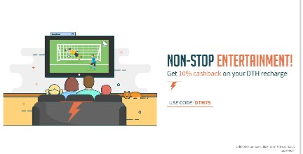 Get 10% Cashback On DTH Recharge – Freecharge