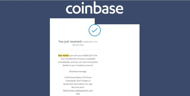Coinbase Payout for CryptoPop