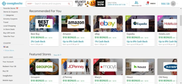 Swagbucks cashback page