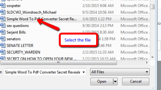 file selection