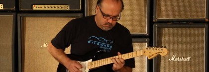 Shit-hot picker Greg Koch shows off the Robin Trower signature Strat