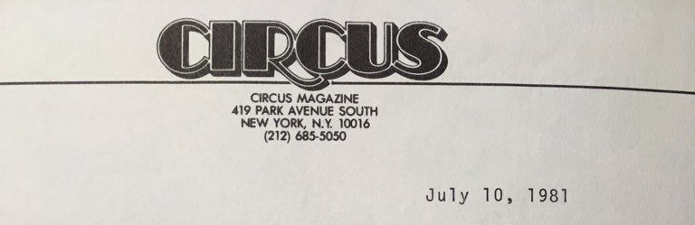 That time Circus Magazine's editorial department sent me a rejection letter :(