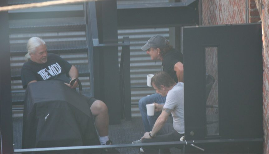 AC/DC in Vancouver: Mike Fraser spotted with Brian Johnson and Phil Rudd, maybe calling Cliff Williams on his phone?