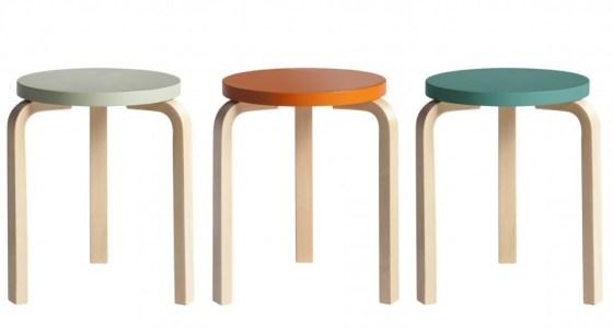Three three legged stools