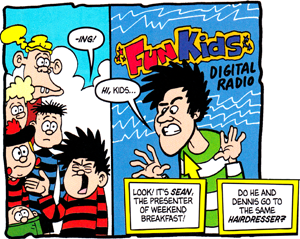 Beano characters meet Sean from Fun Kids