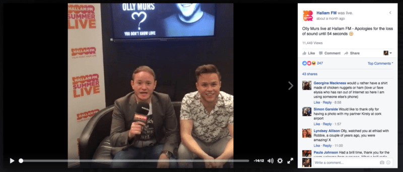 Hallam FM live with Olly Murs