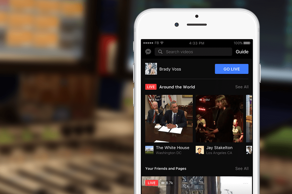 Facebook live on a mobile in a studio