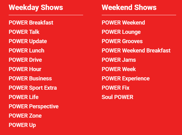 POWER 98.9 programme titles