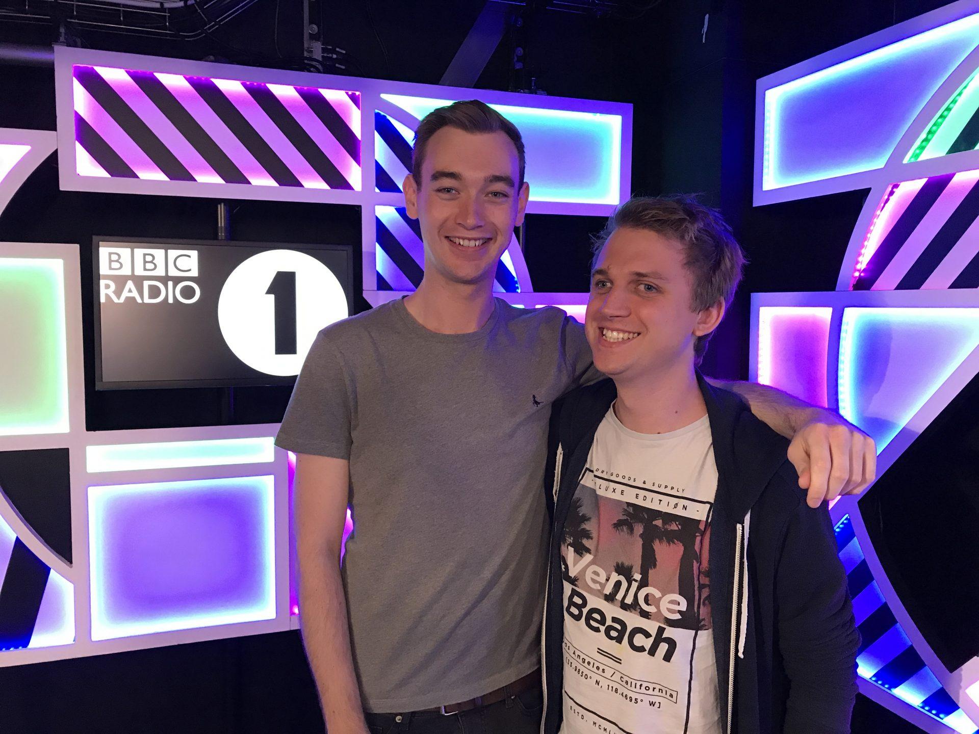 Ben Stones and Liam Hadley at BBC Radio 1