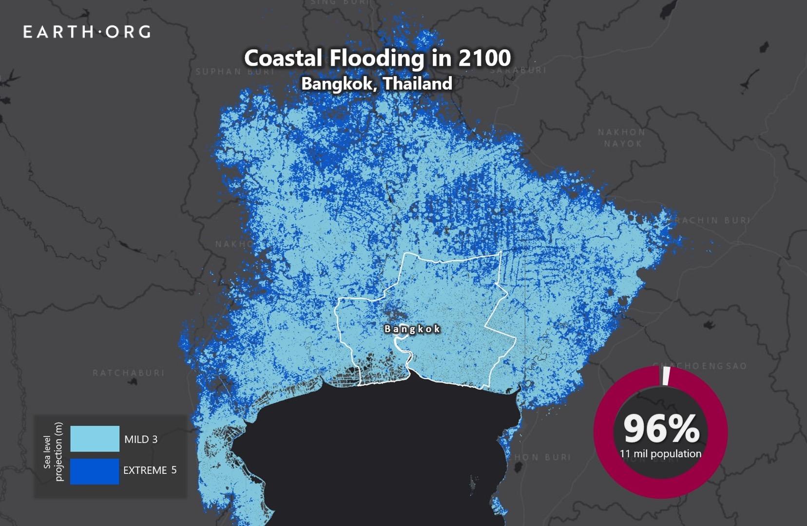 Sea Level Rise by 2100 - Bangkok | Earth.Org - Past | Present | Future