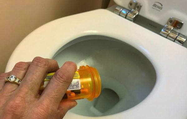 flushing prescription drugs down toilet