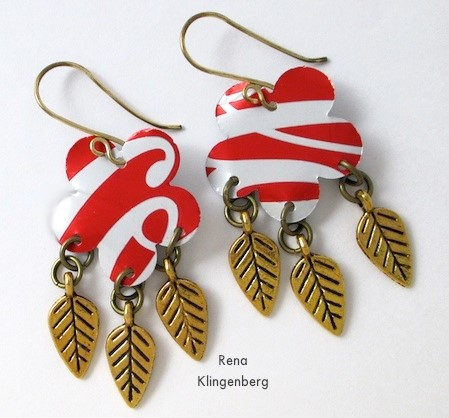 repurposed aluminum can earrings