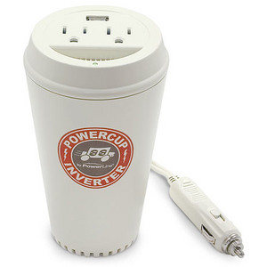 A power inverter styled after a coffee cup