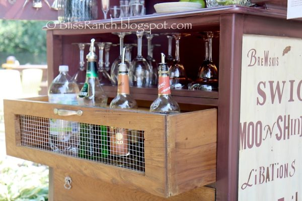 upcycled dresser bar cart