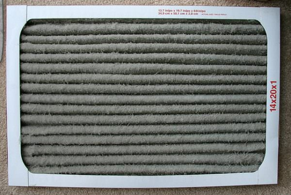 Dirty home air filter