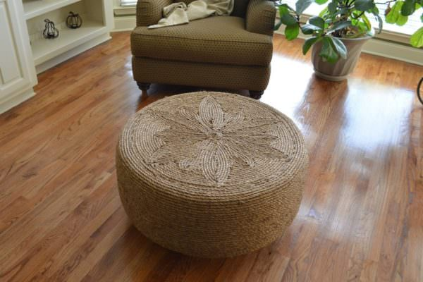 sisal rope-covered ottoman