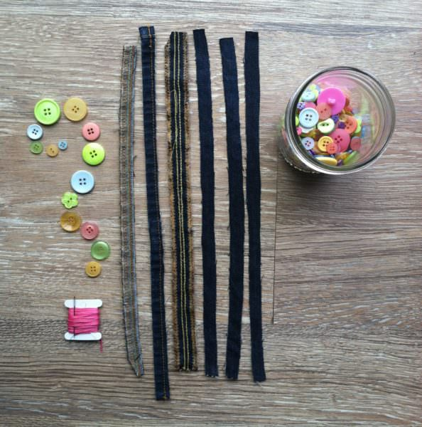 materials for upcycled denim friendship bracelets