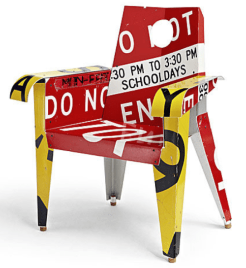 chair build out of upcycled street signs