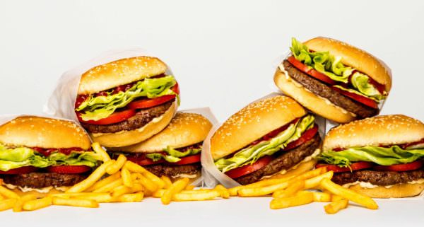 stacks of burgers and fries