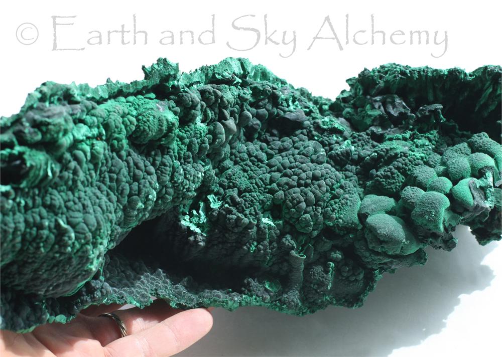 Botryoidal malachite mineral specimen