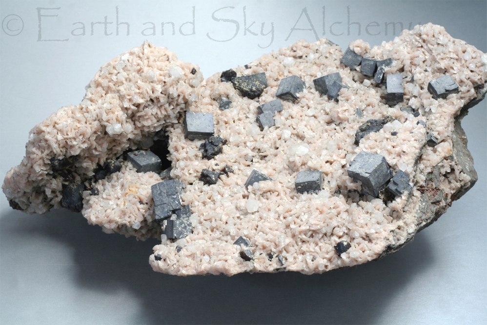 Galena and calcite crystal cluster